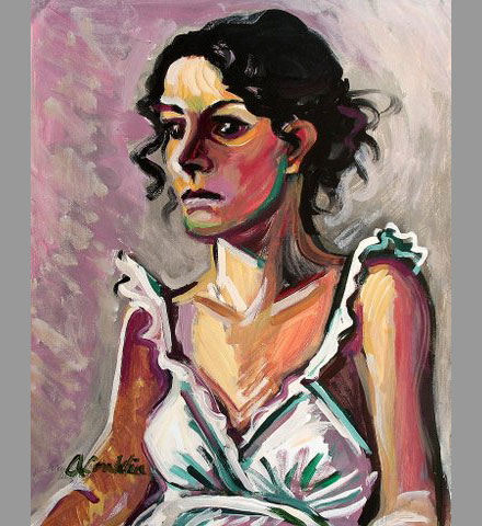 Woman in White Dress Acrylic Painting